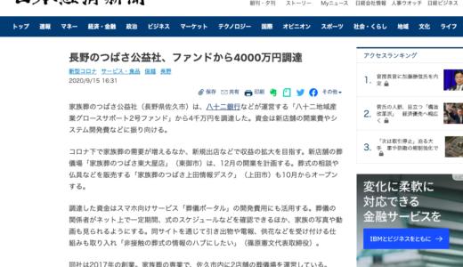 2020.09.15 日経新聞へファンドからの資金調達記事が掲載されました。